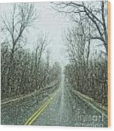 Road In The Snow Wood Print