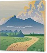 Road Leading To Mountains Wood Print