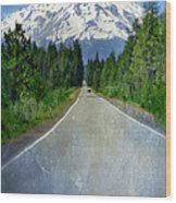Road Leading To Snow Covered Mount Shasta Wood Print