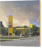 Roadside Gas Station Wood Print by Jaak Nilson