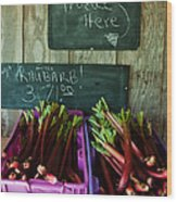 Roadside Produce Stand Rhubarb Wood Print by Denise Lett