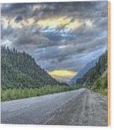 Roadside Sunset Wood Print