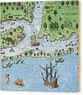 Roanoke Landing, 1585 Wood Print