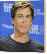 Rob Lowe At The Press Conference Wood Print