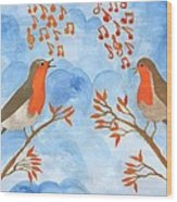 Robin Singing Competition Wood Print