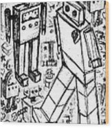 Robot Sketch 6 Of 6 Wood Print