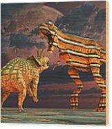 Robotic T. Rex & Triceratops Battle Wood Print