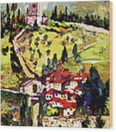 Rocca Maggiore Assisi Italy Wood Print by Ginette Callaway