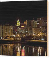 Rochester By Night Wood Print
