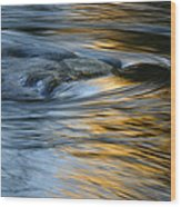 Rock And Blue Gold Water Wood Print