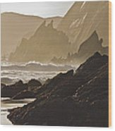 Rock And Waves Dingle Peninsular Wood Print by Julian Easten
