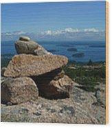 Rock Cairn On Cadillac Mountain Wood Print