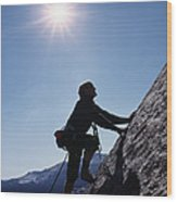 Rock Climber On Polly Dome Above Lake Wood Print