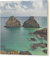 Rock Formation In Fernando De Noronha Wood Print