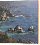 Rock Formations Along The Coast Big Sur Wood Print