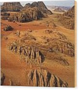 Rock Formations And Sand Near Petra Wood Print by Annie Griffiths