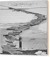 Rock Lake Crossing In Black And White  Wood Print