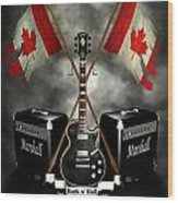 Rock N Roll Crest- Canada Wood Print by Frederico Borges