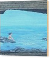 Rock Painting-nude Woman At Ocean Wood Print