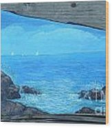 Rock Painting-ocean Sailboats Wood Print