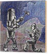 Rocket Man And Robot Wood Print