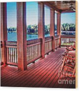 Rocking Chair Porch View Wood Print