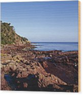 Rockpools In Volcanic Rock Formations Wood Print