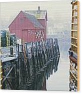 Rockport Harbor And Cages Wood Print