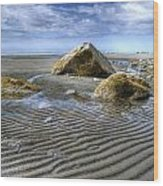 Rocks And Sand Wood Print