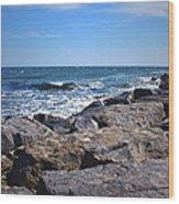 Rocks And The Ocean Wood Print