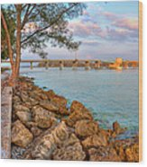 Rocks And Water Longboat Pass Bridge Wood Print by Jenny Ellen Photography