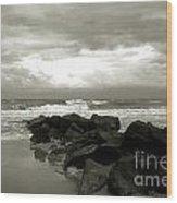 Rocks At Folly Beach Sc Wood Print