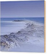 Rocks Fighting Against The Waves Wood Print