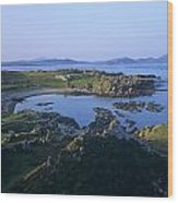 Rocks On The Coast, Malin Head, County Wood Print