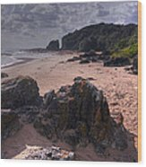 Rocks On The Shore Wood Print