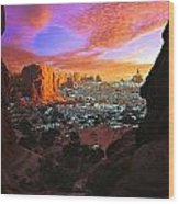 Rocky Buttes Viewed Through Canyon Wood Print