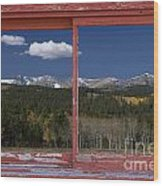 Rocky Mountain Autumn Red Rustic Picture Window Frame Photos Art Wood Print