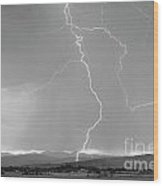 Rocky Mountain Front Range Foothills Lightning Strikes 1 Bw Wood Print