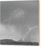 Rocky Mountain Front Range Foothills Lightning Strikes Bw Wood Print
