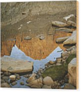 Rocky Mountain Peaks Are Reflected Wood Print