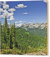 Rocky Mountain View From Mount Revelstoke Wood Print