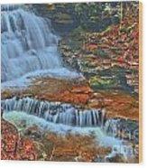 Rocky Pool Falls Wood Print