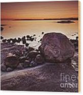 Rocky Shore At Twilight Wood Print