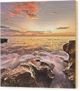 Rocky Surf Wood Print