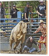 Rodeo Clowns To The Rescue Wood Print