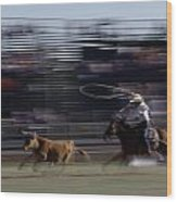 Rodeo Cowboy Trying To Lasso A Running Wood Print by Chris Johns
