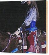 Rodeo Cowgirl Wood Print
