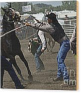 Rodeo Wild Horse Race Wood Print