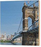 Roebling Bridge To Cincinnati Wood Print