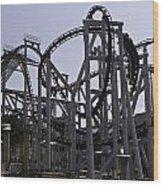 Roller Coaster Rides Inside The Universal Studio Park In Sentosa Wood Print